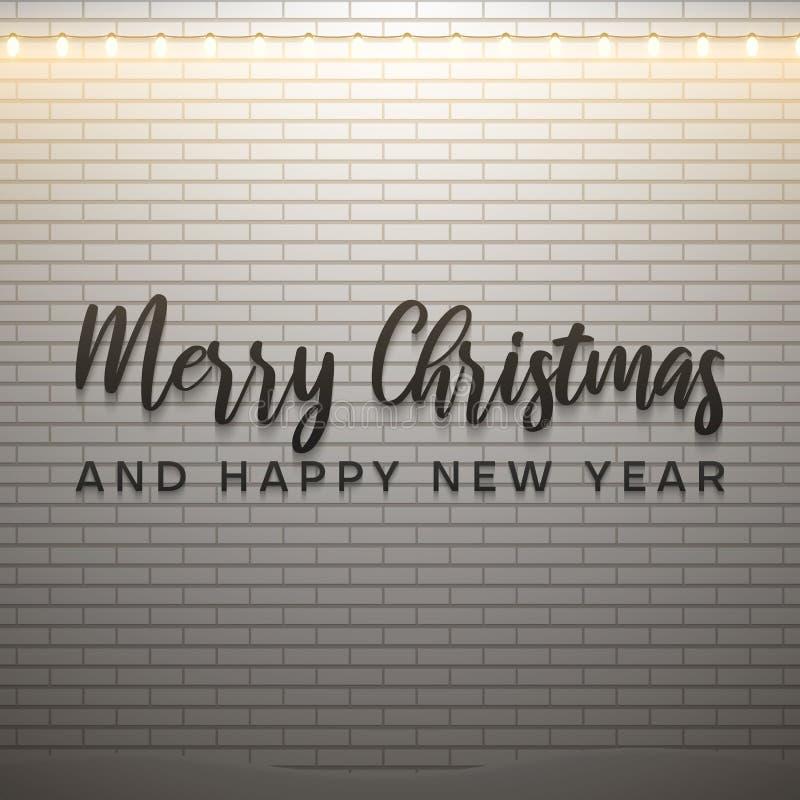 Texto do Feliz Natal e do ano novo feliz com luz de Natal no fundo branco do tijolo ilustração stock