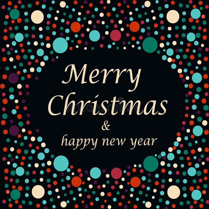 Texto do Feliz Natal e do ano novo feliz fotografia de stock