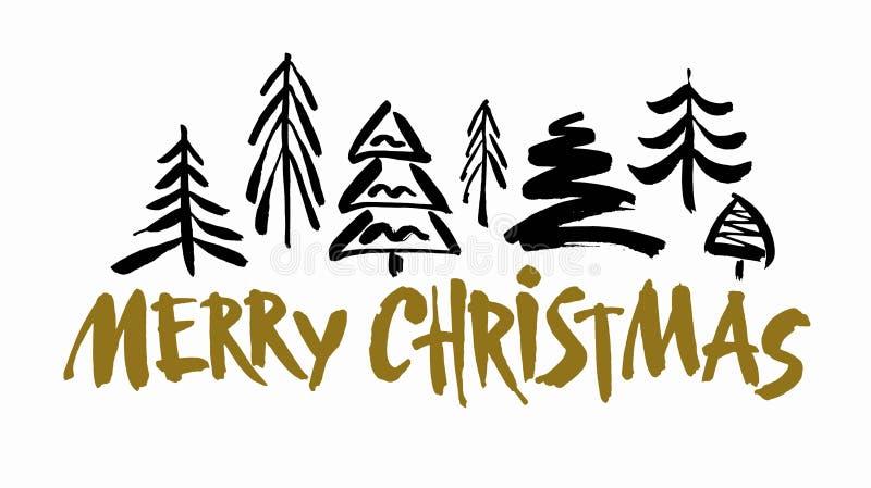 Texto do Feliz Natal O preto e o ouro escovam a caligrafia no fundo branco com as árvores de Natal abstratas ilustração stock