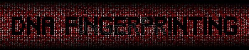 Texto do fingerprinting de ADN na ilustração do fundo do código genético do ADN ilustração stock