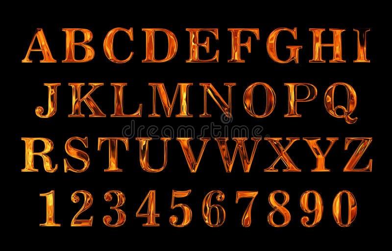 Texto do fogo Alfabeto do fogo texto encarnado do metal ilustração royalty free