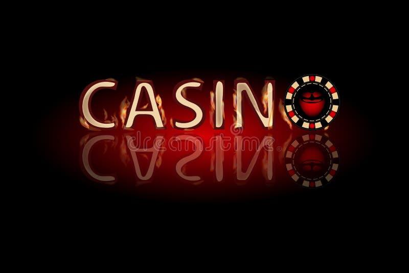Texto do fogo do casino microplaqueta em um fundo escuro ilustração stock