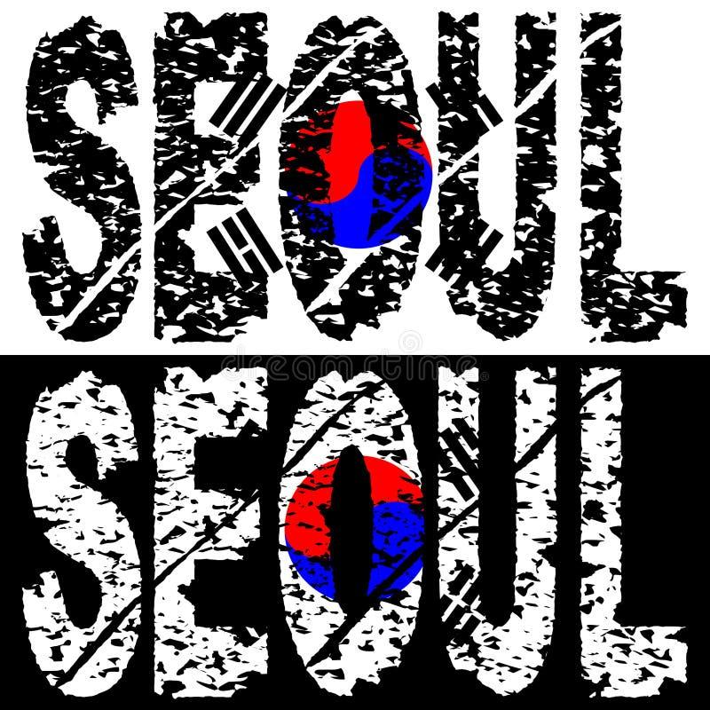 Texto do grunge de Seoul com bandeira ilustração royalty free