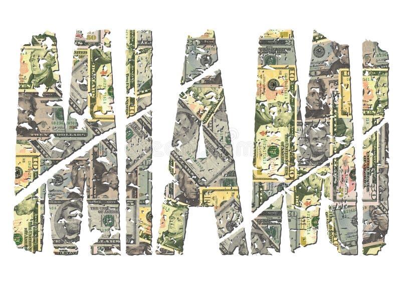 Texto do grunge dos dólares de Miami ilustração stock