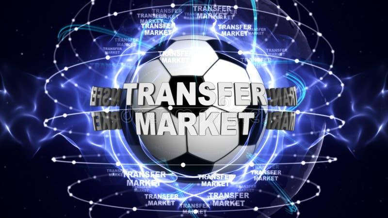 Texto do MERCADO de TRANSFERÊNCIA e bola de futebol, rendição, fundo dos gráficos ilustração royalty free