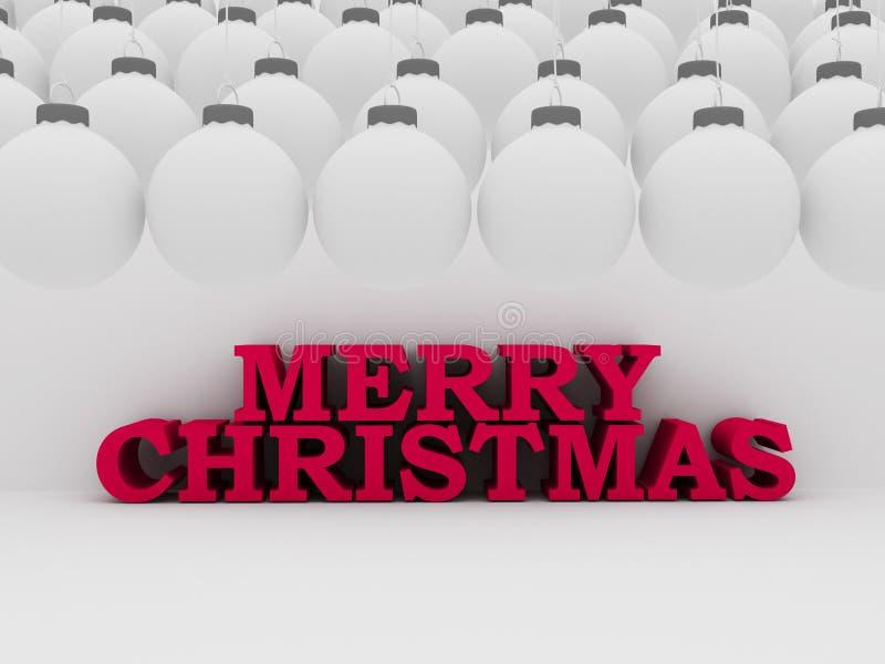 Texto do Natal com bolas brancas ilustração royalty free