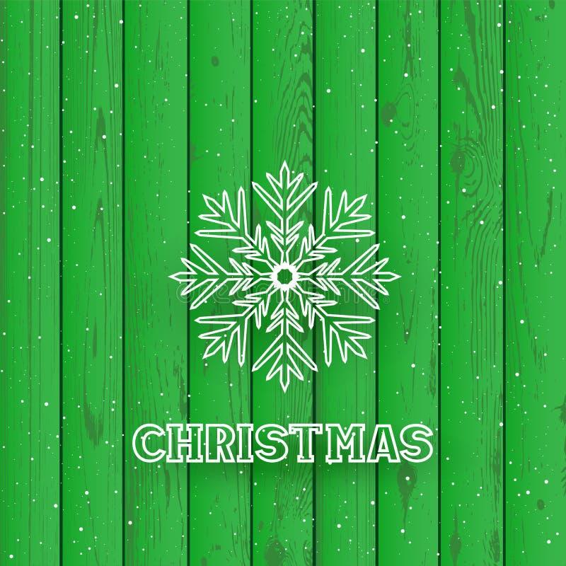 Texto do Natal no fundo de madeira verde ilustração stock