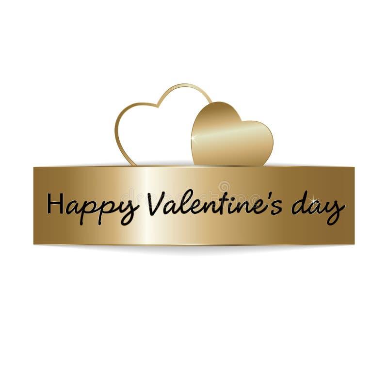 Texto do ouro da venda do dia de Valentim no quadro em anunciar o anúncio do cartaz com os balões dourados do coração no fundo br ilustração do vetor