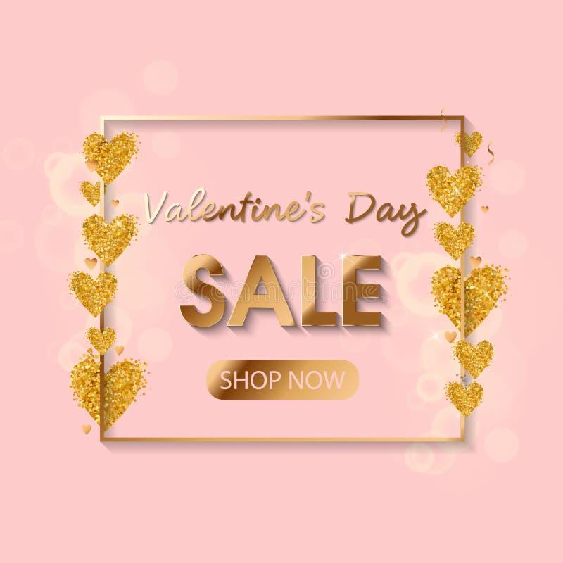 Texto do ouro da venda do dia de Valentim no quadro em anunciar o anúncio do cartaz com os balões dourados do coração no fundo co ilustração stock