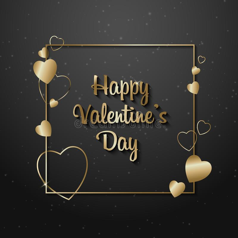 Texto do ouro da venda do dia de Valentim no quadro em anunciar o anúncio do cartaz com os balões dourados do coração no fundo pr ilustração stock