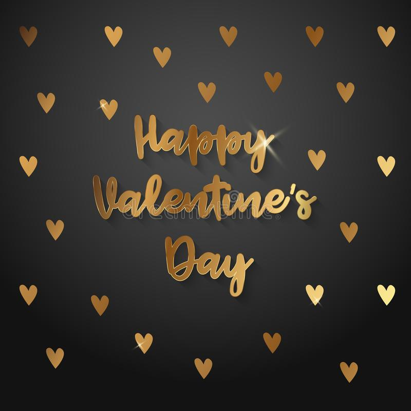 Texto do ouro da venda do dia de Valentim no quadro em anunciar o anúncio do cartaz com os balões dourados do coração no fundo pr ilustração do vetor
