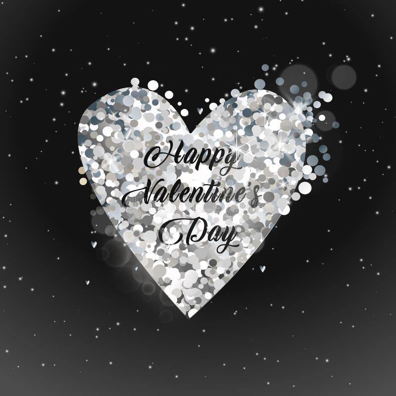 Texto do ouro da venda do dia de Valentim no quadro em anunciar o anúncio do cartaz com os balões dourados do coração no fundo pr ilustração royalty free