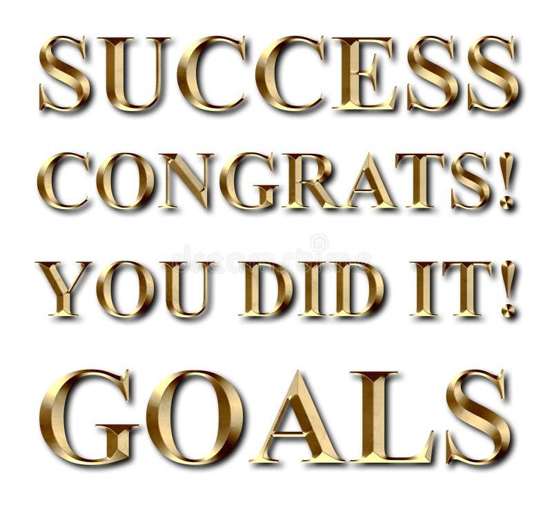 Texto do ouro de Congrats dos objetivos do sucesso ilustração royalty free