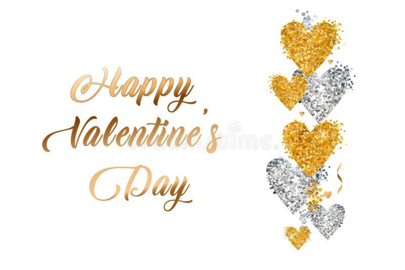 Texto do ouro do dia de Valentim no quadro em anunciar o anúncio do cartaz com os balões dourados do coração no fundo branco Veto ilustração do vetor