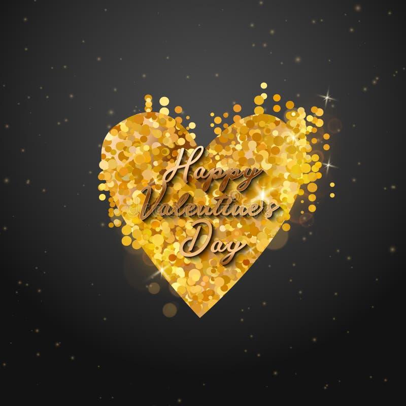 Texto do ouro do dia de Valentim no quadro em anunciar o anúncio do cartaz com os balões dourados do coração no fundo preto Vetor ilustração royalty free