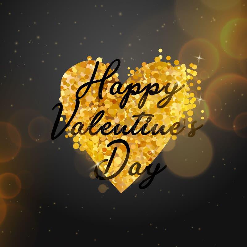 Texto do ouro do dia de Valentim no quadro em anunciar o anúncio do cartaz com os balões dourados do coração no fundo preto Vetor ilustração do vetor