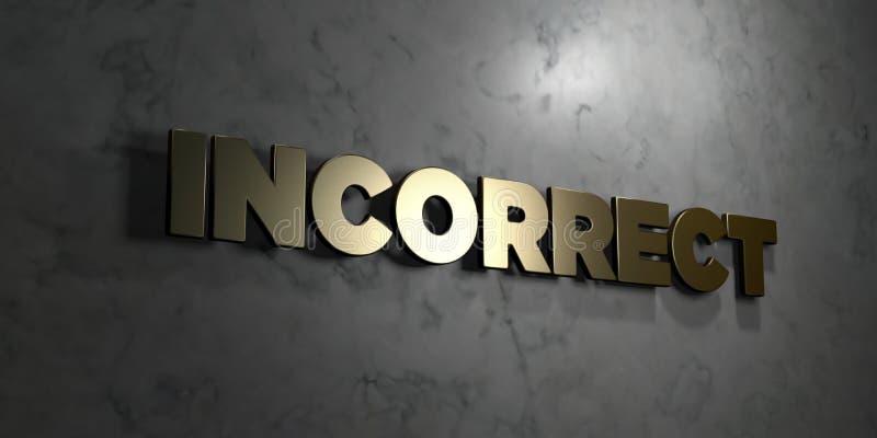 - Texto do ouro no fundo preto - 3D incorreto rendeu a imagem conservada em estoque livre dos direitos ilustração royalty free