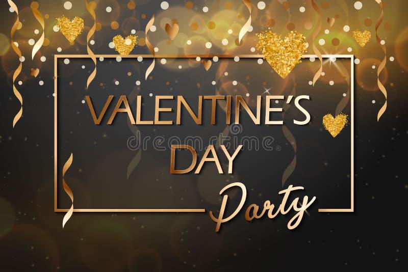 Texto do ouro do partido do dia de Valentim no quadro em anunciar o anúncio do cartaz com os balões dourados do coração no fundo  ilustração do vetor
