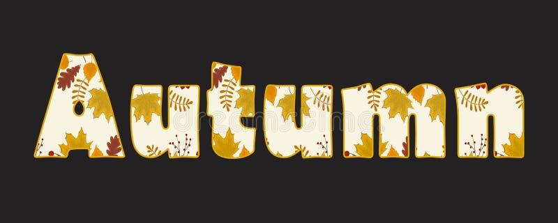 Texto do outono Fundo do outono com as folhas do bordo, do carvalho, do vidoeiro e das outras ?rvores ilustração do vetor