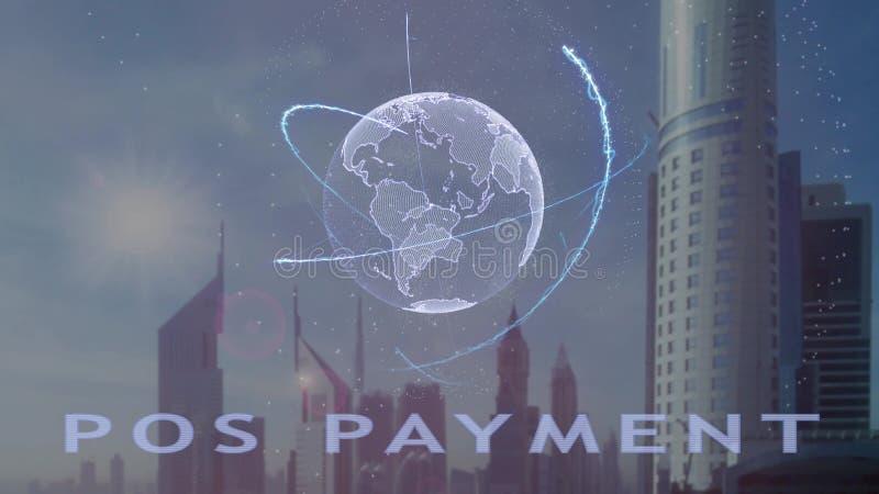 Texto do pagamento da posi??o com holograma 3d da terra do planeta contra o contexto da metr?pole moderna fotos de stock royalty free