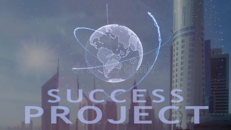 Texto do projeto do sucesso com holograma 3d da terra do planeta contra o contexto da metr?pole moderna ilustração do vetor