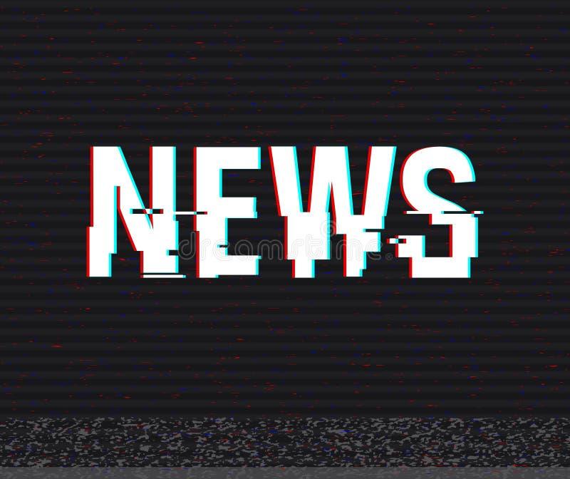 Texto do pulso aleatório da notícia Efeito do Anaglyph 3D Fundo retro tecnologico Ilustração do vetor Molde creativo do Web Inset ilustração royalty free
