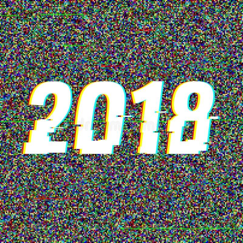 texto 2018 do pulso aleatório Efeito do Anaglyph 3D Fundo retro tecnologico Ilustração do vetor Molde creativo do Web Inseto ilustração do vetor