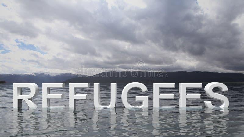 Texto do refugiado que emerge da água com montanhas e céu ilustração do vetor
