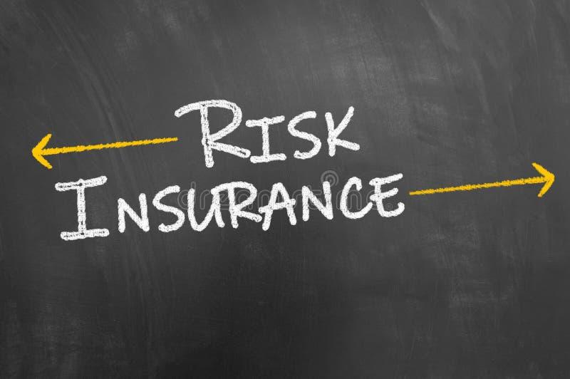 Texto do seguro de risco no quadro-negro ou no quadro fotografia de stock royalty free