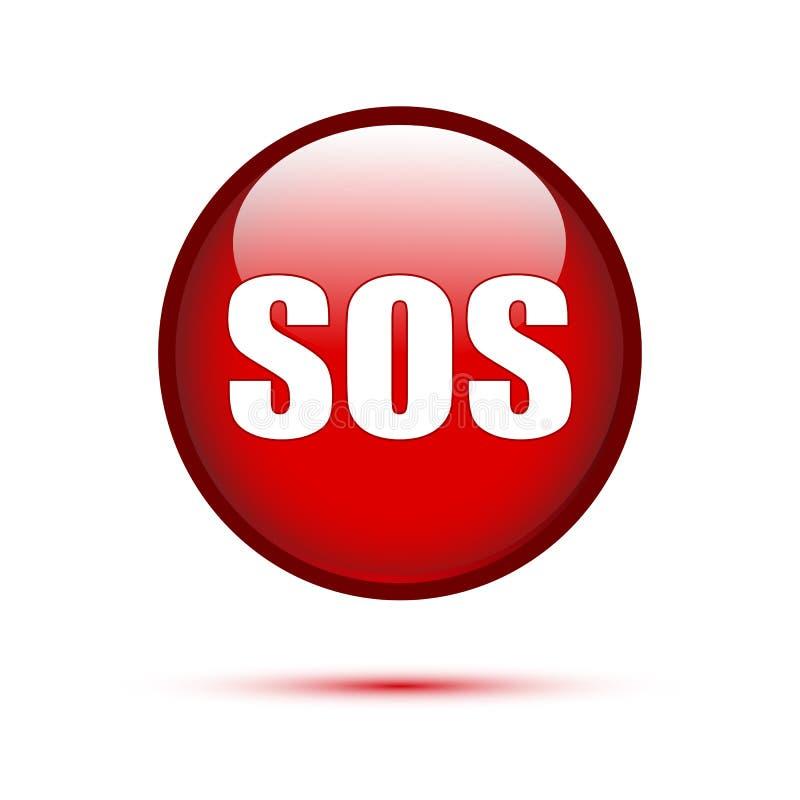 Texto do SOS no botão vermelho ilustração stock