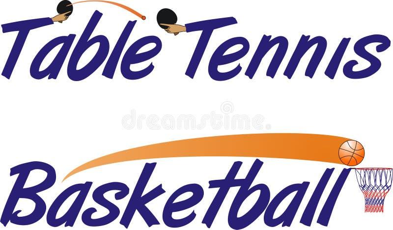 Texto do tênis e do basquetebol de tabela ilustração royalty free