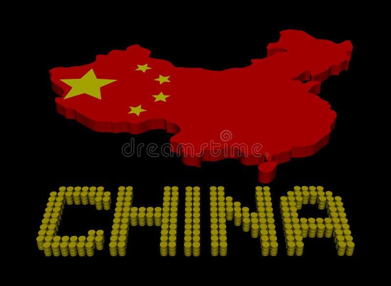 Texto do tambor de China com ilustração da bandeira do mapa ilustração royalty free