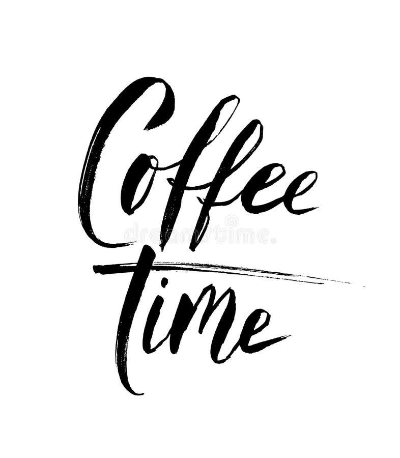 Texto do tempo do café Rotulação da mão Caligrafia moderna da escova Ilustração do vetor ilustração stock