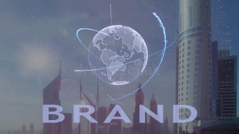 Texto do tipo com holograma 3d da terra do planeta contra o contexto da metr?pole moderna ilustração do vetor