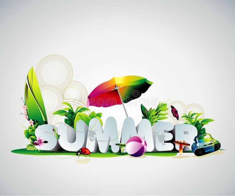Texto do verão 3d ilustração stock