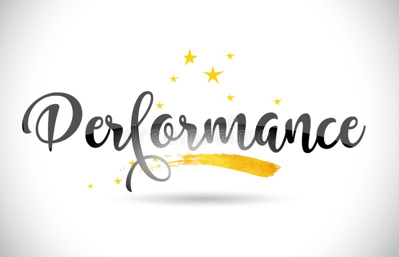 Texto do vetor da palavra do desempenho com a fuga dourada e o Handwri das estrelas ilustração stock