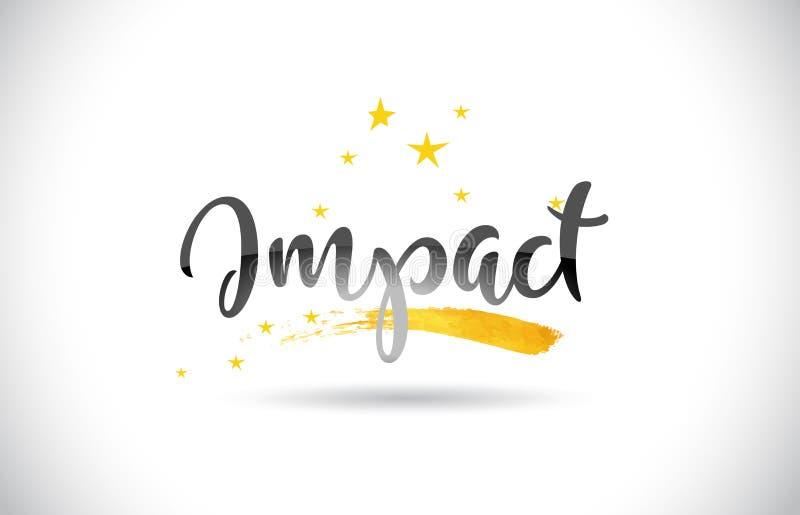 Texto do vetor da palavra do impacto com a fuga dourada das estrelas e escrito à mão ilustração royalty free