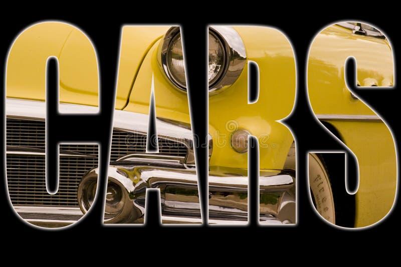 Texto dos carros imagem de stock