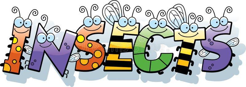 Texto dos insetos dos desenhos animados ilustração do vetor