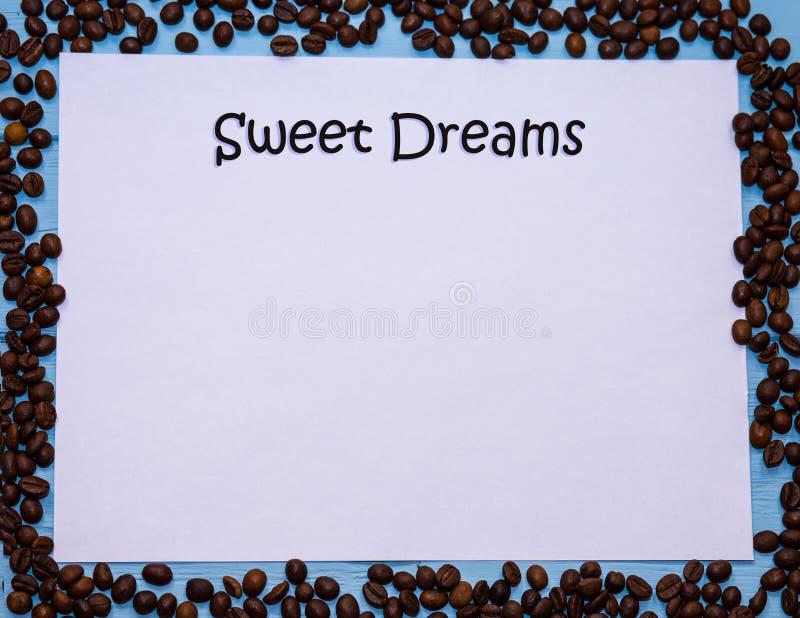 Texto dos sonhos doces no papel vazio branco imagens de stock royalty free