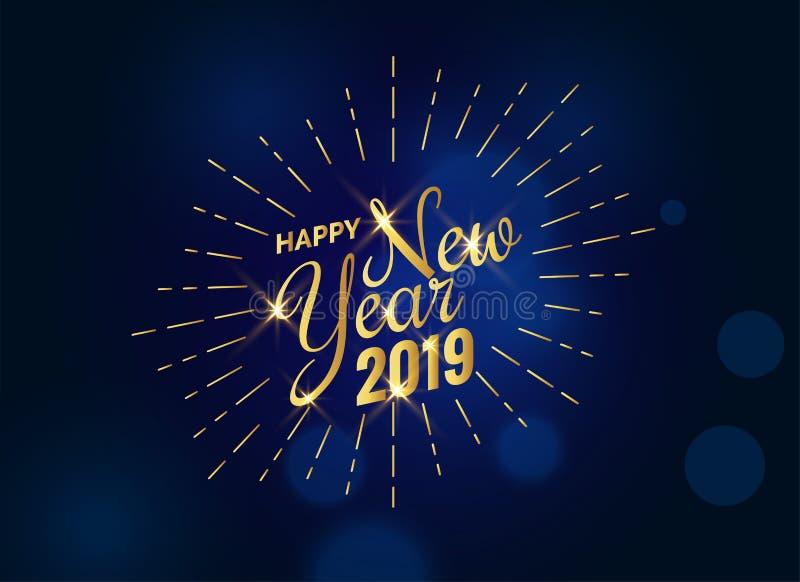 Texto dourado 2019 do ano novo feliz no fundo azul ilustração stock