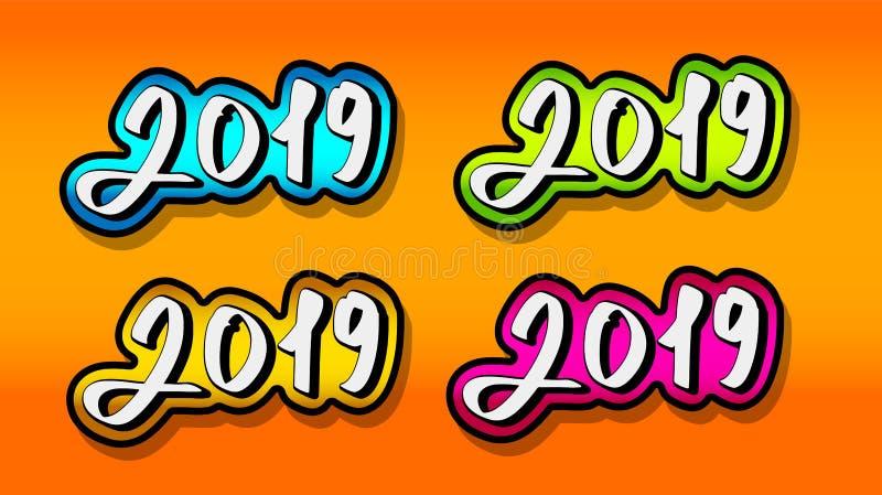 Texto 2019 E ilustração royalty free