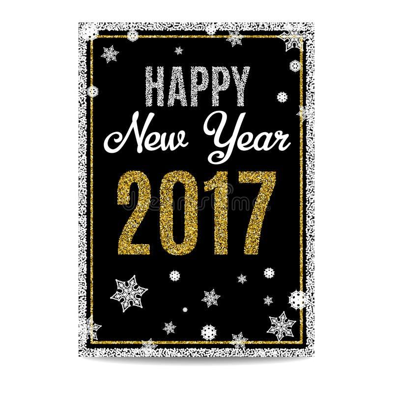Texto 2017 e flocos de neve dourados do cartão do ano novo feliz ilustração do vetor