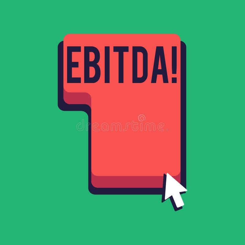 Texto Ebitda de la escritura de la palabra Concepto del negocio para las ganancias antes de la abreviatura de la amortización de  libre illustration