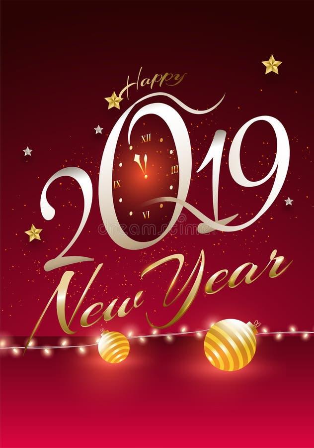 Texto elegante 2019 con el reloj de pared en fondo rojo brillante Happ stock de ilustración