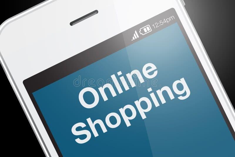 Texto em linha da compra na tela do smartphone foto de stock