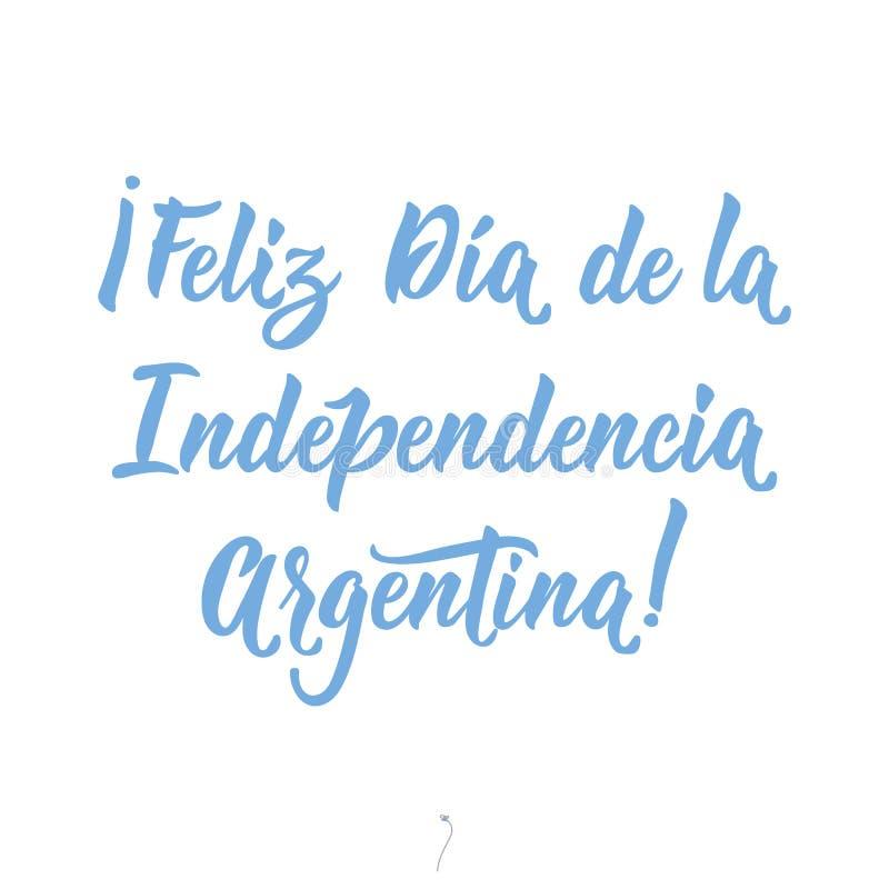 Texto en español: Día de la Independencia feliz la Argentina Ilustraci?n del vector Bandera del concepto de dise?o, tarjeta delet stock de ilustración