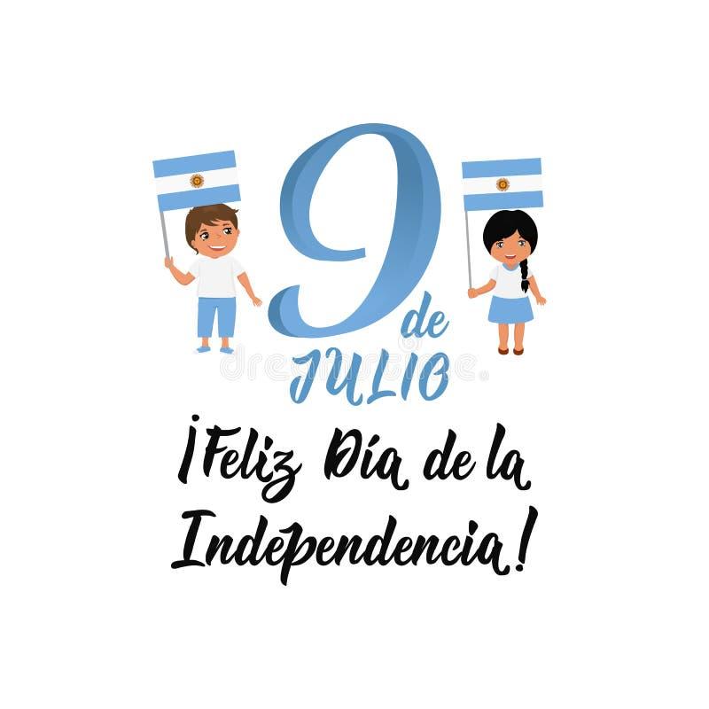 Texto en español: Día de la Independencia feliz, el 9 de julio Ilustraci?n del vector Bandera del concepto de dise?o, tarjeta del stock de ilustración