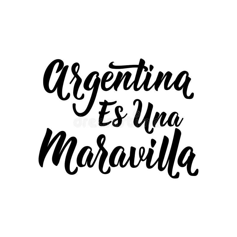 Texto en español: La Argentina es una maravilla Ilustraci?n del vector Bandera del concepto de dise?o, tarjeta Una Maravilla de l stock de ilustración