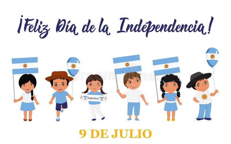 Texto en espa?ol: D?a de la Independencia feliz, el 9 de julio Ilustraci?n del vector Bandera del concepto de dise?o, tarjeta del stock de ilustración